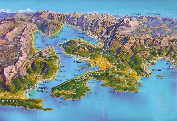 A map of the Bay of Kotor (via)