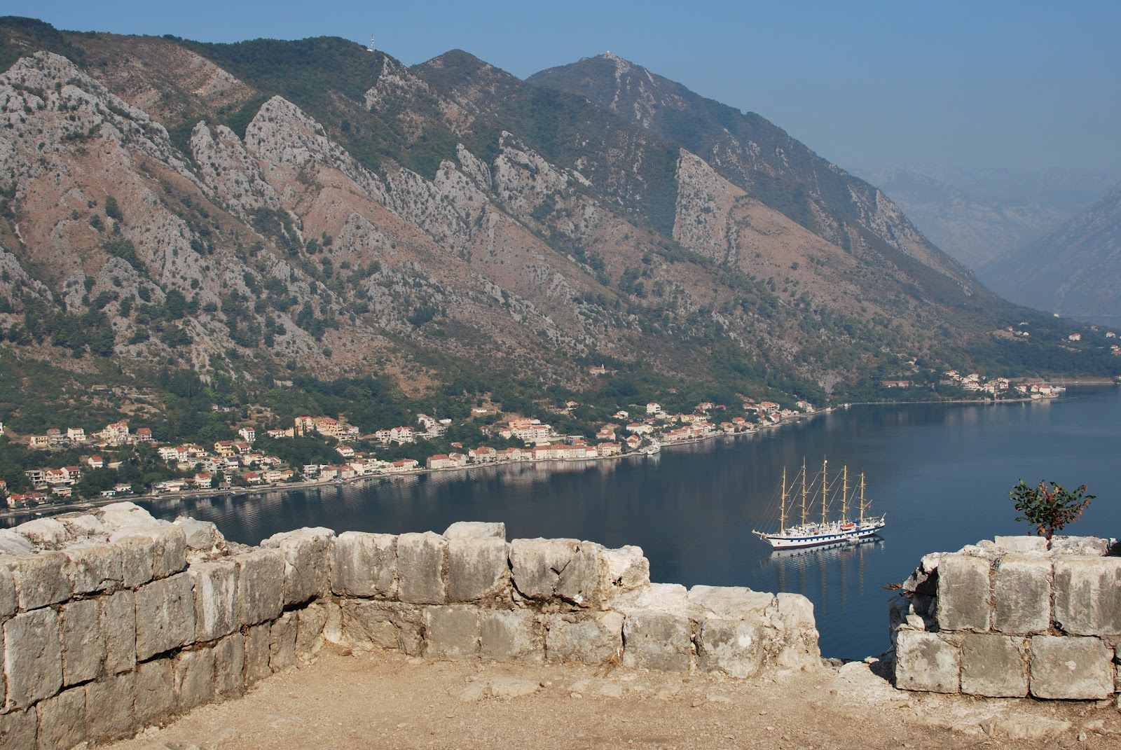 Looking out onto the Bay of Kotor while climbing the Fortifications