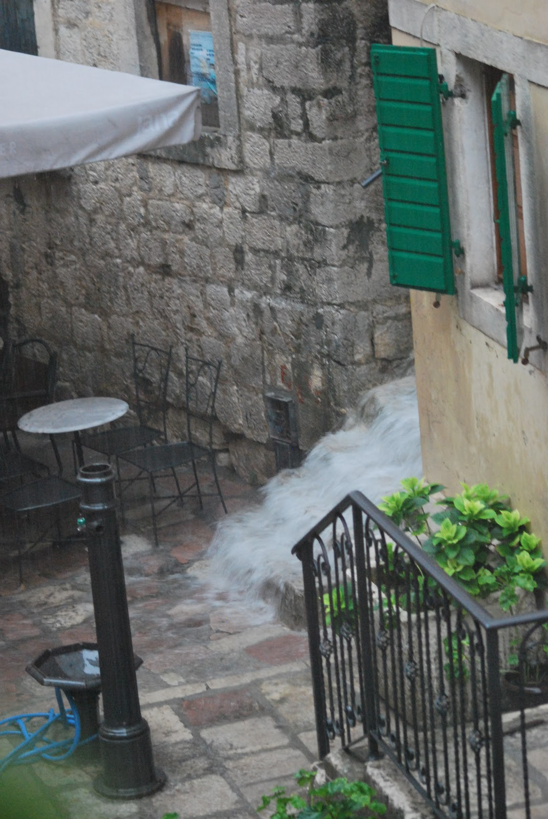 The rain has little place to go in the fortified city, making venturing out during a storm nearly impossible
