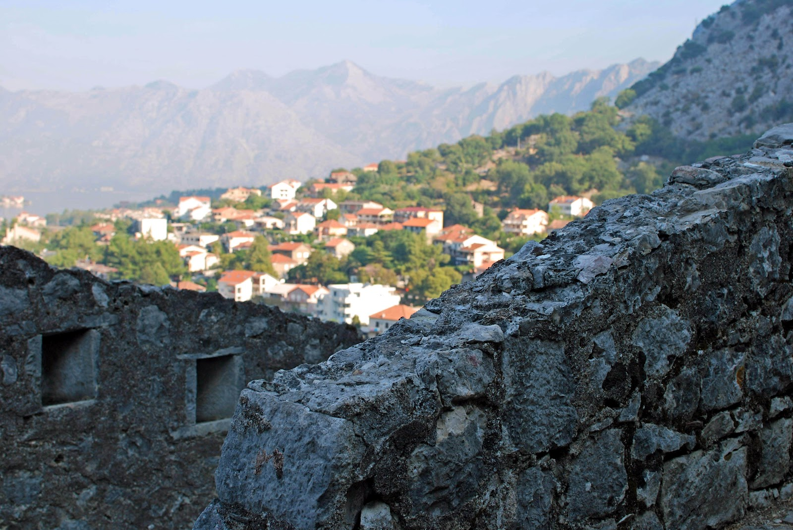 Climbing Kotor's Fortifications - we made sure to leave early in the morning so we could hike while the walls were shaded by the mountainside
