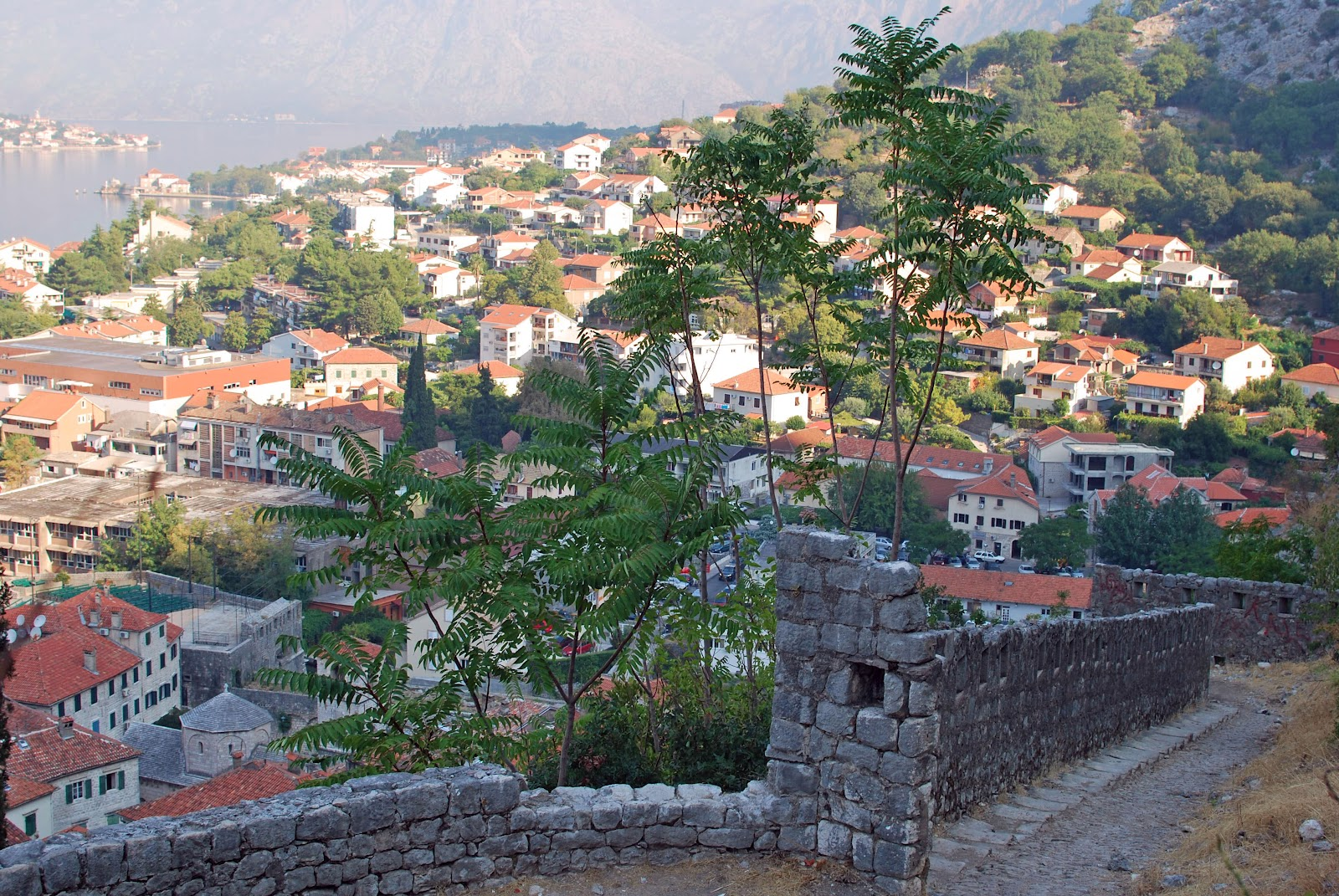 The view of Kotor from midway up the Fortifications