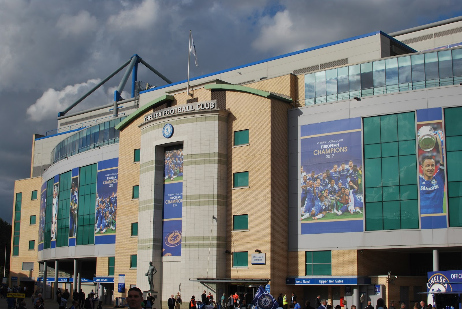 The East Stand entrance at Stamford Bridge