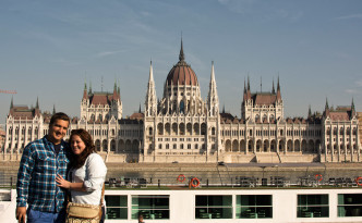 Taking in Budapest's beautiful Parliament - and laughing at the hilarious Italian couple that offered to take our picture