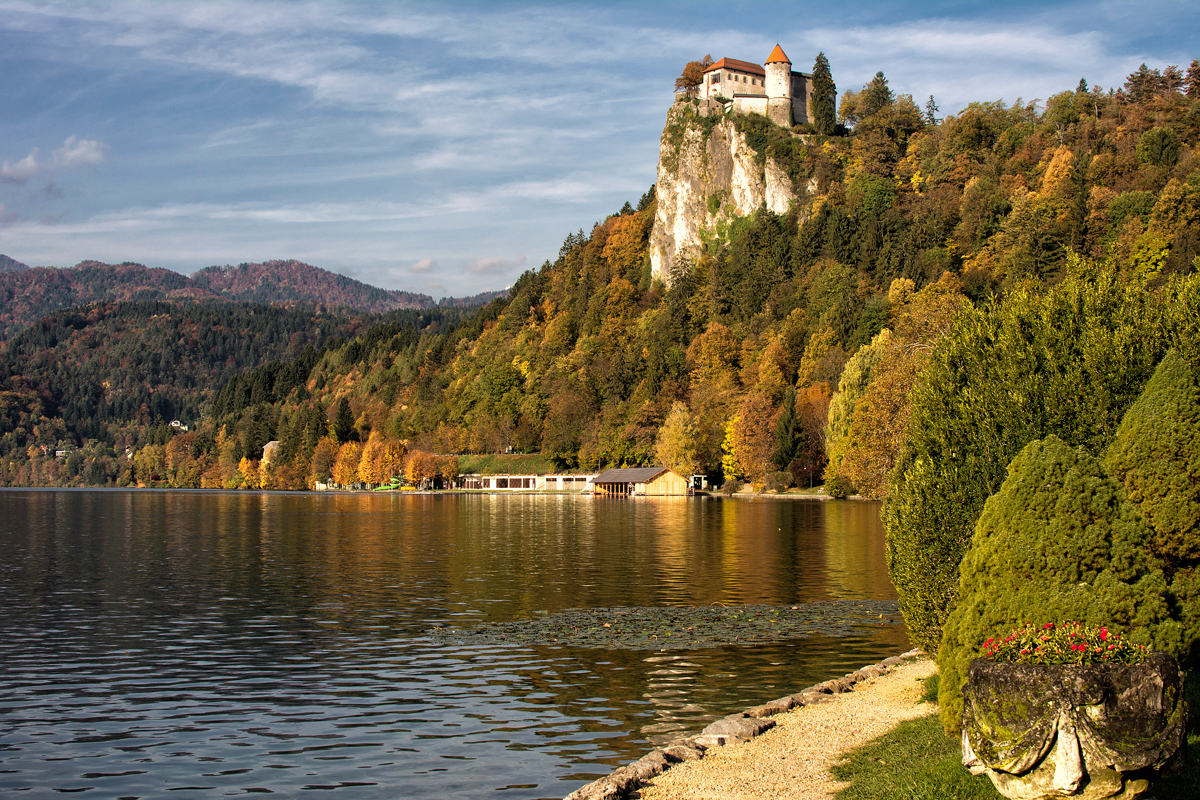 Bled castle perched high above the lake.