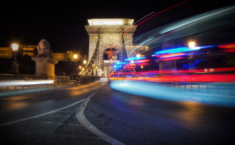 Light trails from a police convoy in Budapest