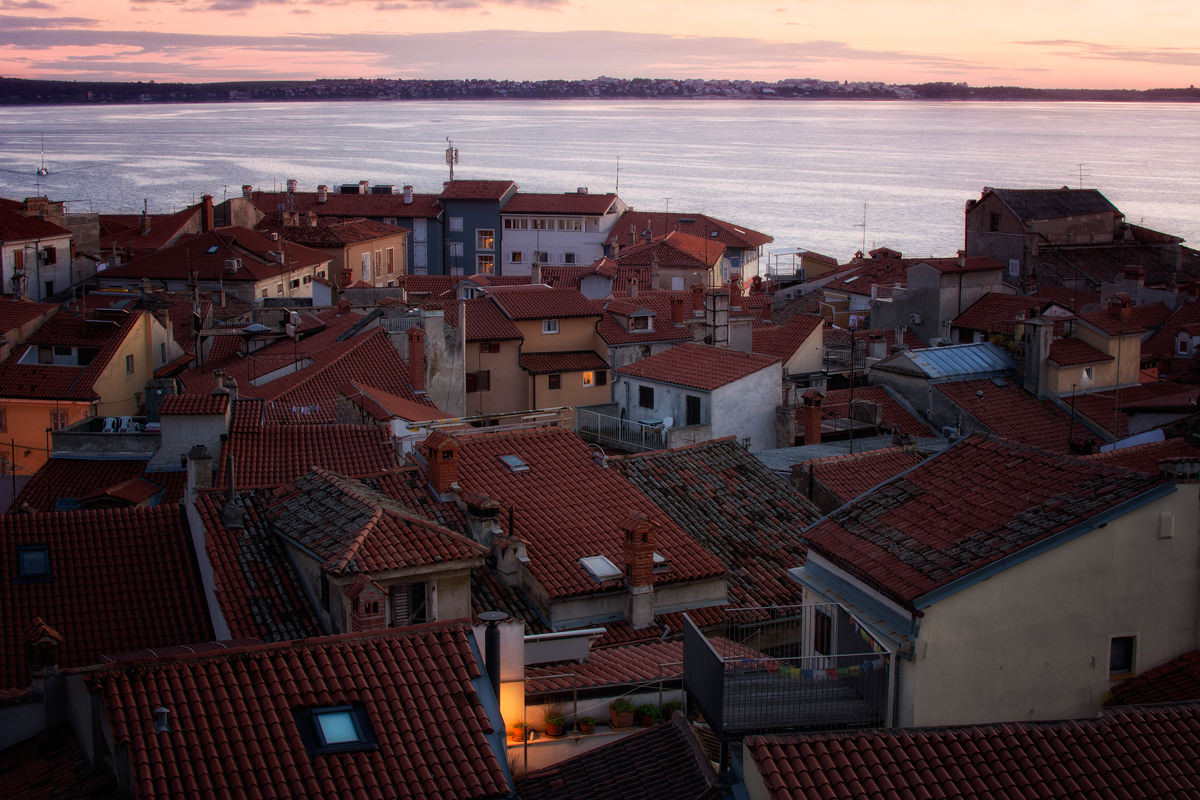 The red rooftops of Piran at sunset