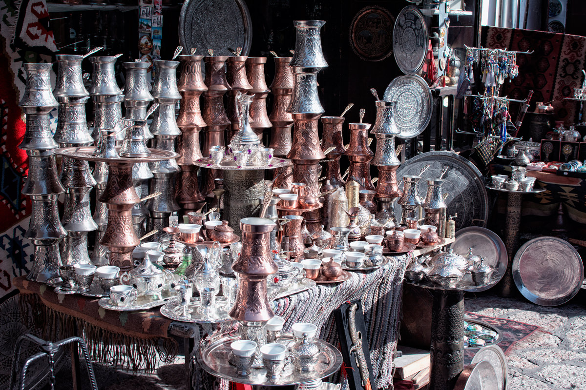 A selection of Cezve (traditional coffee pots) for sale in the bazaar
