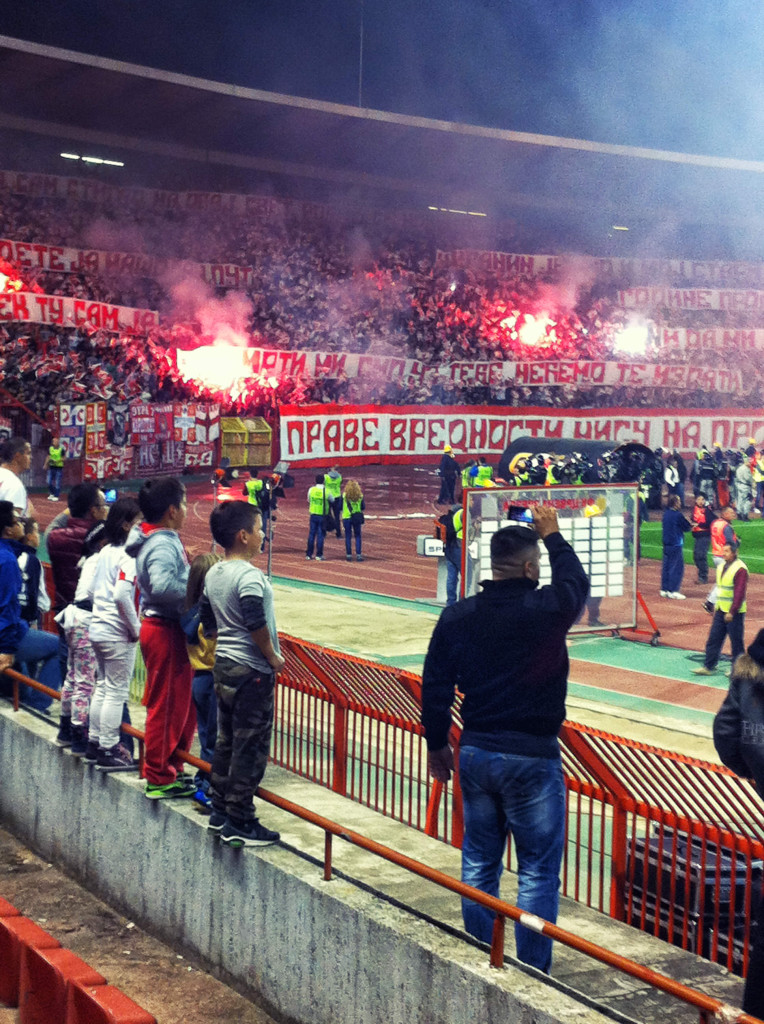 The Red Star supporters section at the beginning of the match