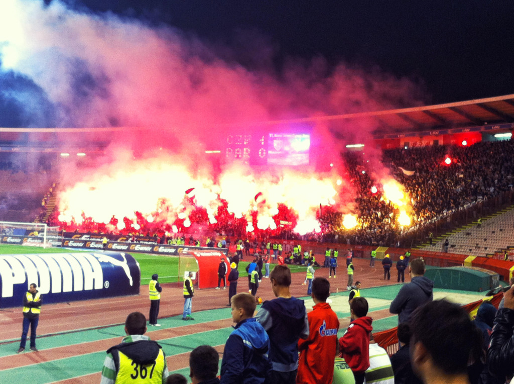 Flares set off by the Grobari just after halftime