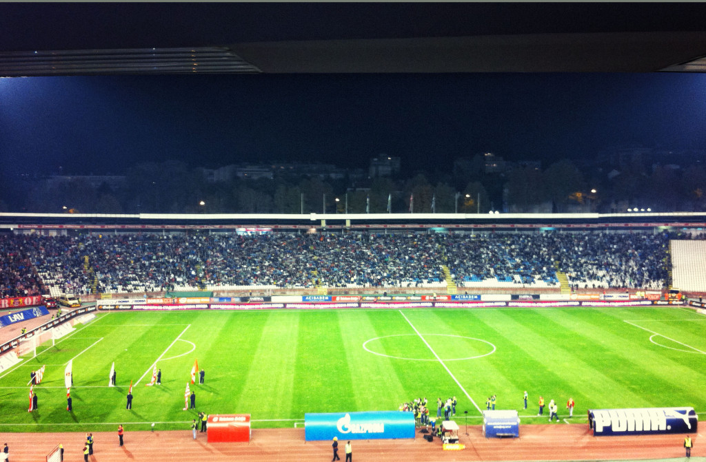 "More than 40,000 fans crammed into Red Star's stadium - affectionately called the ""Marakana"""
