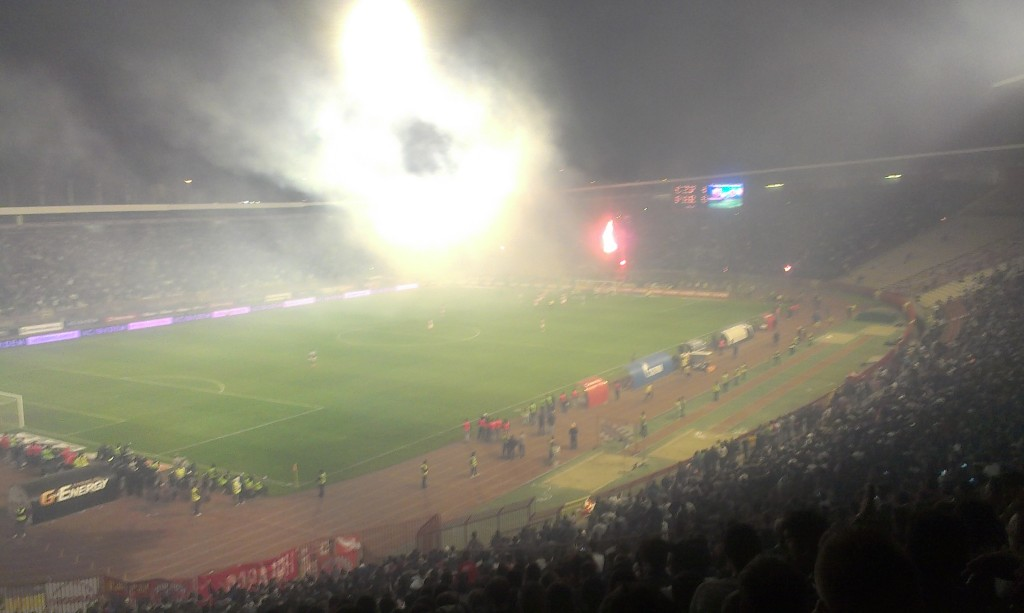 Flares set off by one of the breakaway groups of Partizan Fans