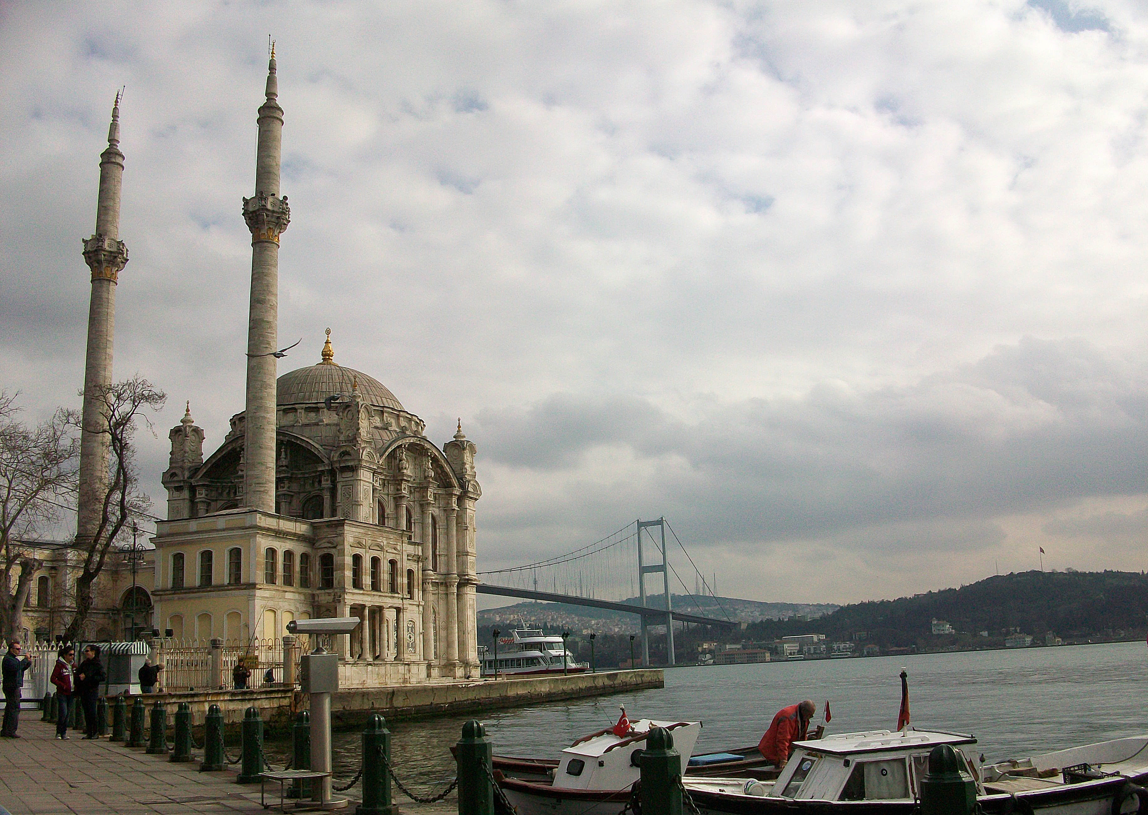 The perfectly located Ortakoy Mosque with the Bosphorous Bridge in the distance