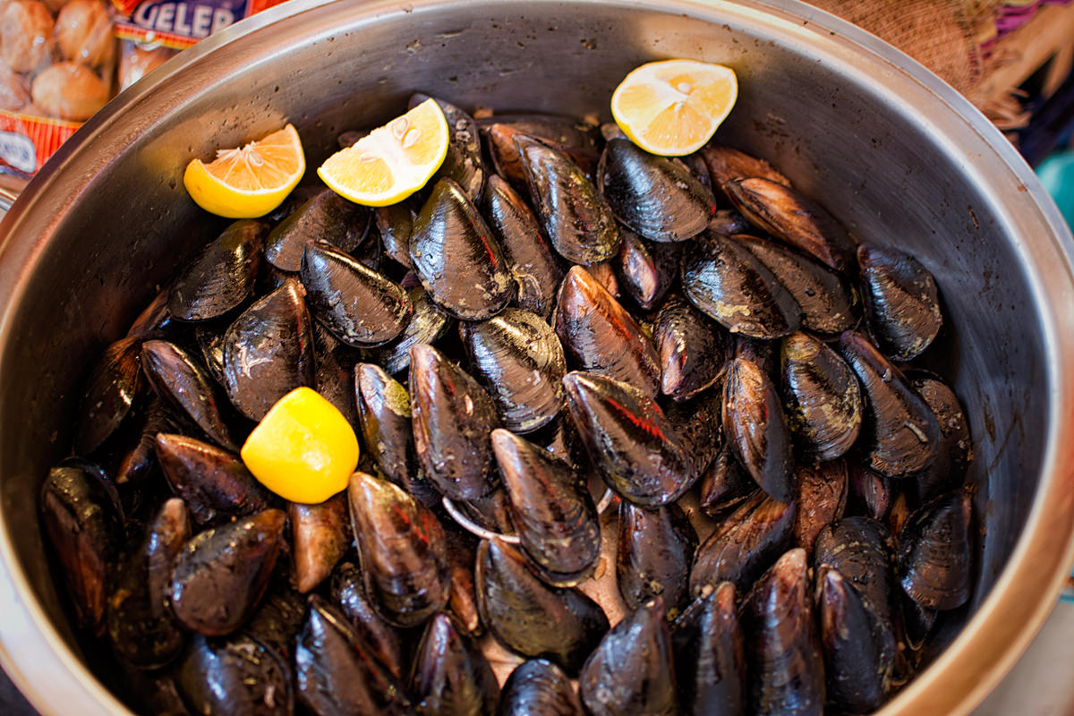 Midye - fresh caught mussels for sale in the bazaar in Kadikoy