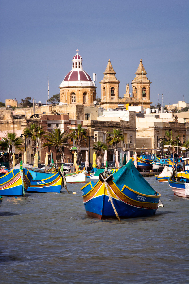Beautiful coloured boats in Marsaxlokk Harbour