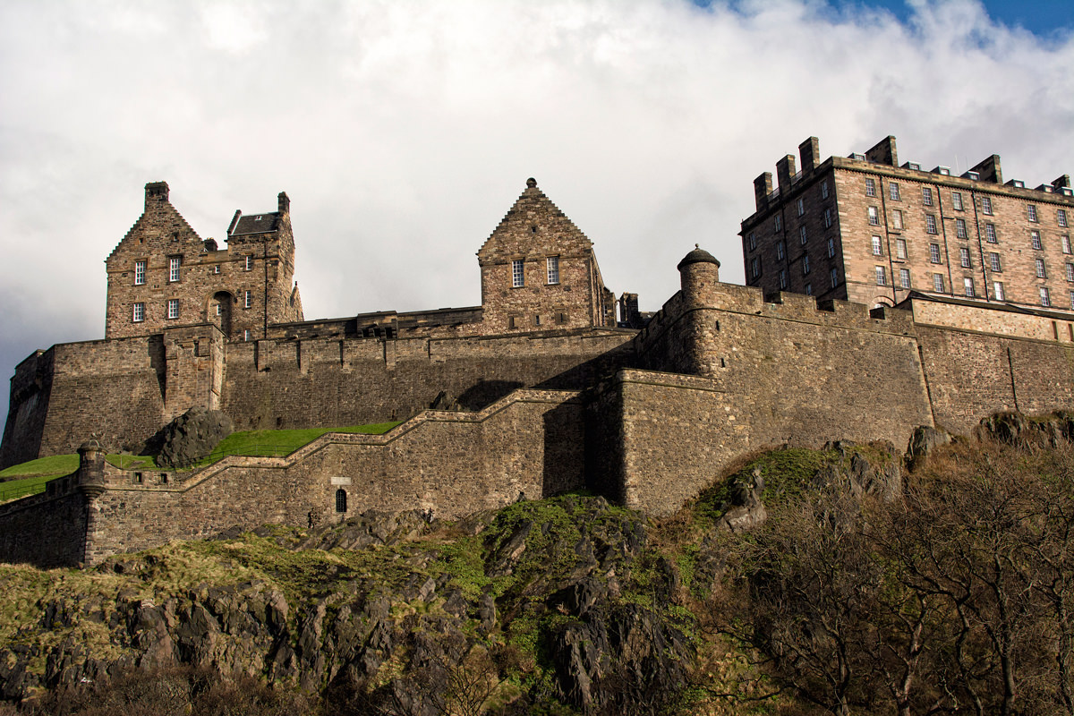 The view of Edinburgh Castle from the valley below