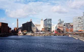 Looking back at Pier Head from Albert Dock